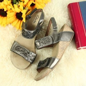 Clarks Bendables Wedge Pewter Strappy Heel